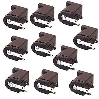 SODIAL(R) 10個入りDC電源ジャックソケット2.1ミリメートルバレル型基板実装