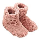 Mianshe 北欧 ルームシューズ もこもこ ルームブーツ 暖かい ボアスリッパ 男女兼用 (ピンク Mサイズ 24.5cmくらいまで)