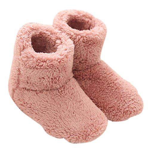 Mianshe 北欧 暖かい もこもこ ルームシューズ 男女兼用 足首まで暖かルームブーツ 冬用 防寒 ボアスリッパ (ピンク Mサイズ 24.5cmくらいまで)