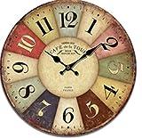 しあわせ倉庫 北欧 レトロ 壁掛け 時計 アンティーク インテリア 雑貨 木製 ウッド 丸 アナログ (マルチ)