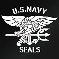 【U.S. NAVY SEALS 02(米国海軍特殊部隊モチーフ)大判Lサイズ カッティングステッカー 2枚組 幅約35cm×高約29cm】カラー:白(ホワイト)