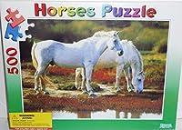 Horsesパズル–2つホワイトHorses Standing Near水–500Pieceパズル50x 36cm