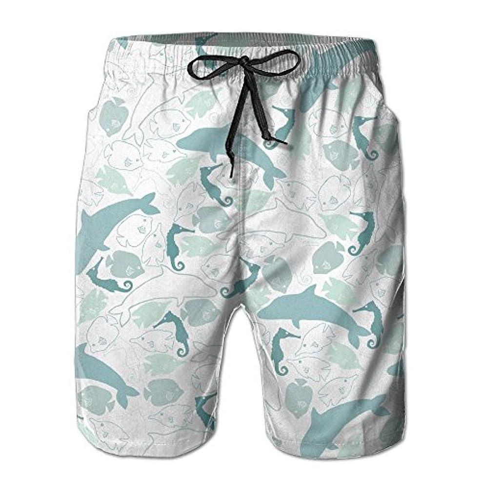 非常に入場料帽子アニメイルカ 紳士のファッションと快適のビーチショーツ スイムショーツ メッシュインナー 通気 速乾 ビーチズボン 海水パンツ ショートパンツ