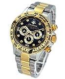 ワイルドな時を刻め!ダイヤ8個のリッチなメンズ腕時計 [ ジョンハリソン 141DG ] 誕生日プレゼント (ゴールド×ブラック)