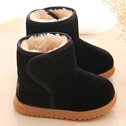 Tonsee 子供用 スノーブーツ ベビーブーツ 防寒対策 赤ちゃん 暖かい シューズ (13.5cm, ブラック)