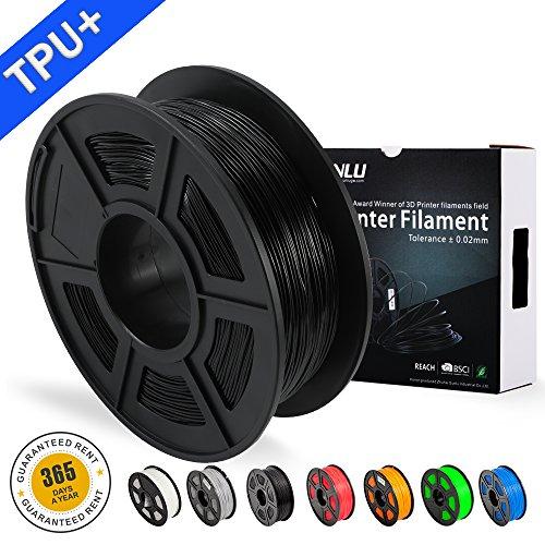 SUNLU 3DプリンタフィラメントTPU、1.75mm TPUフィラメント、3D印刷フィラメント低臭気、寸法精度+/- 0.02mm、3Dプリンタおよび3Dペン用のLBS(1KG)スプール3Dフィラメント、ブラックTPU+