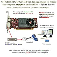 ATI Radeon HD 3450256MBロープロファイルグラフィックスカード( Fullサイズブラケット、DMS - 59to Dual VGAアダプタ)