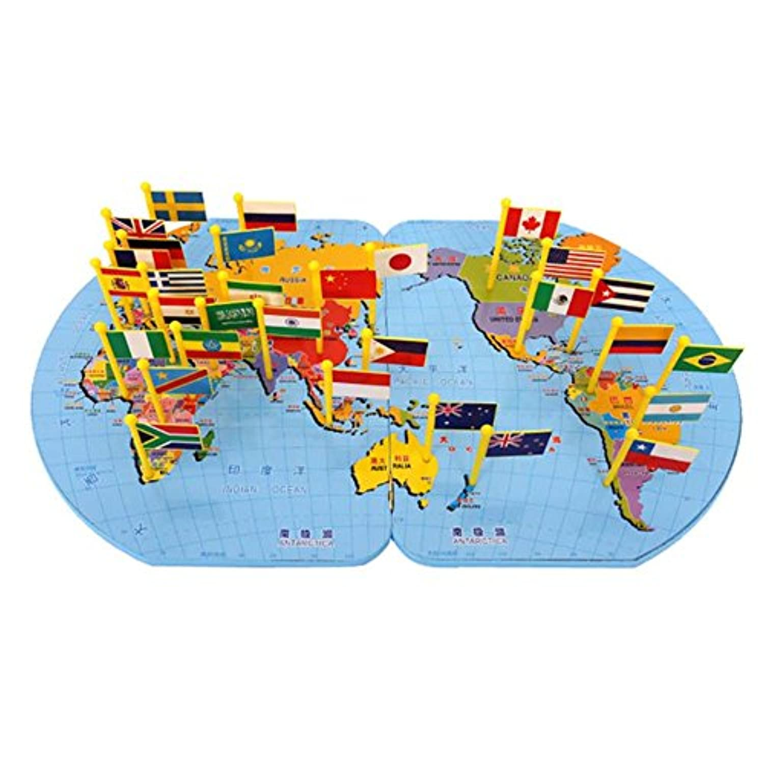 Wooden World Map Flag Puzzle Toy Matching Geography Educational Toy