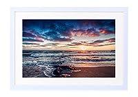 美しい海岸の日の出、海、波は、岩、雲 - 木製の白色のフォトフレーム - 壁の絵 壁掛け ソファの背景絵画 壁アート写真の装飾画の壁画 海 - (60cmx40cm)