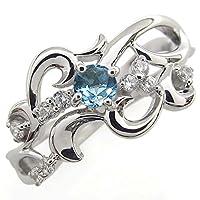 プレジュール ブルートパーズ 唐草 結婚記念日 リング メモリアルリング 指輪 K10ホワイトコーティング リングサイズ15号