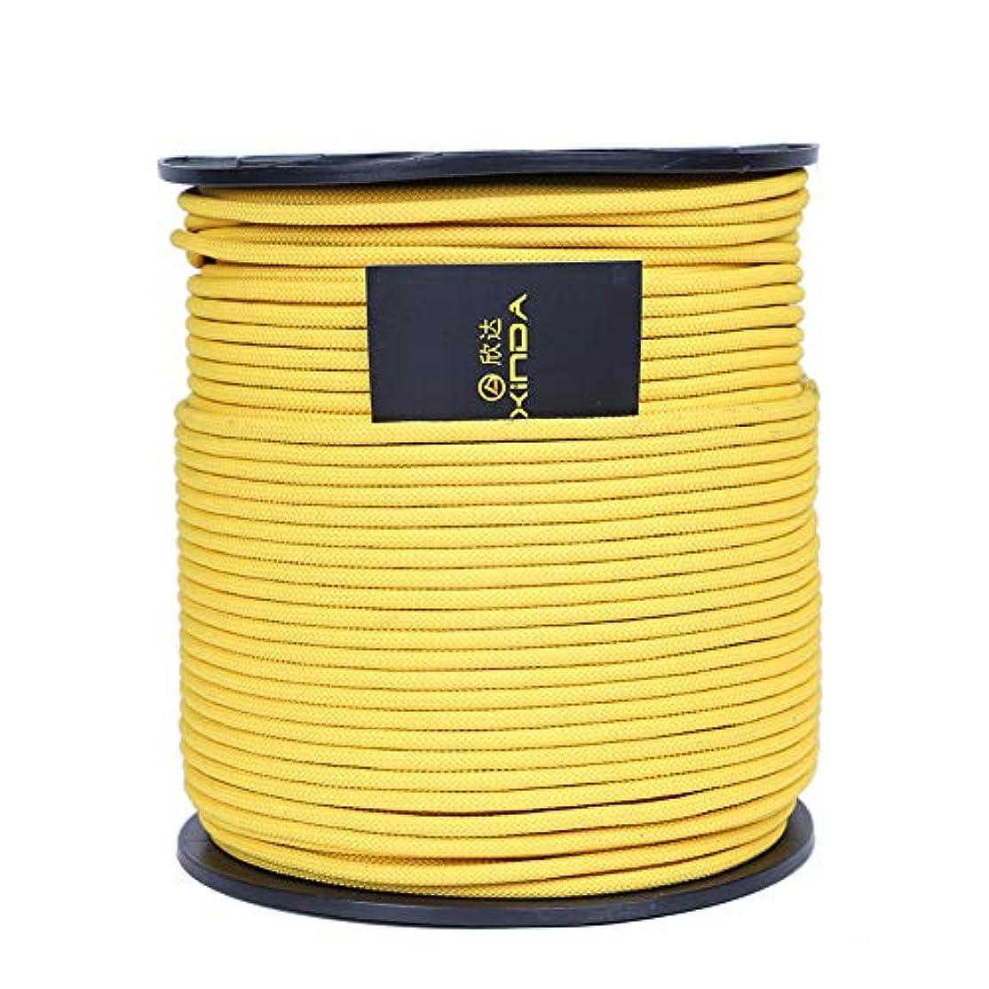 引き算レザー窒素ロッククライミングロープ、アウトドアハイキングアクセサリー高強度コード安全ロープ火災避難救助静的ロープ(6 mm)トレーニングキャンプ用,yellow,60m