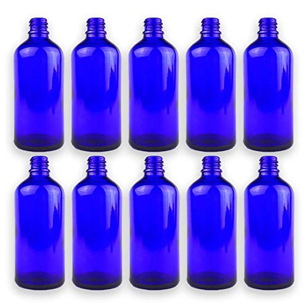 検証ラベ非武装化遮光瓶 青色 ドロッパー付き 10本セット 100ml 43.5mm×111.5mm Φ10.5mm