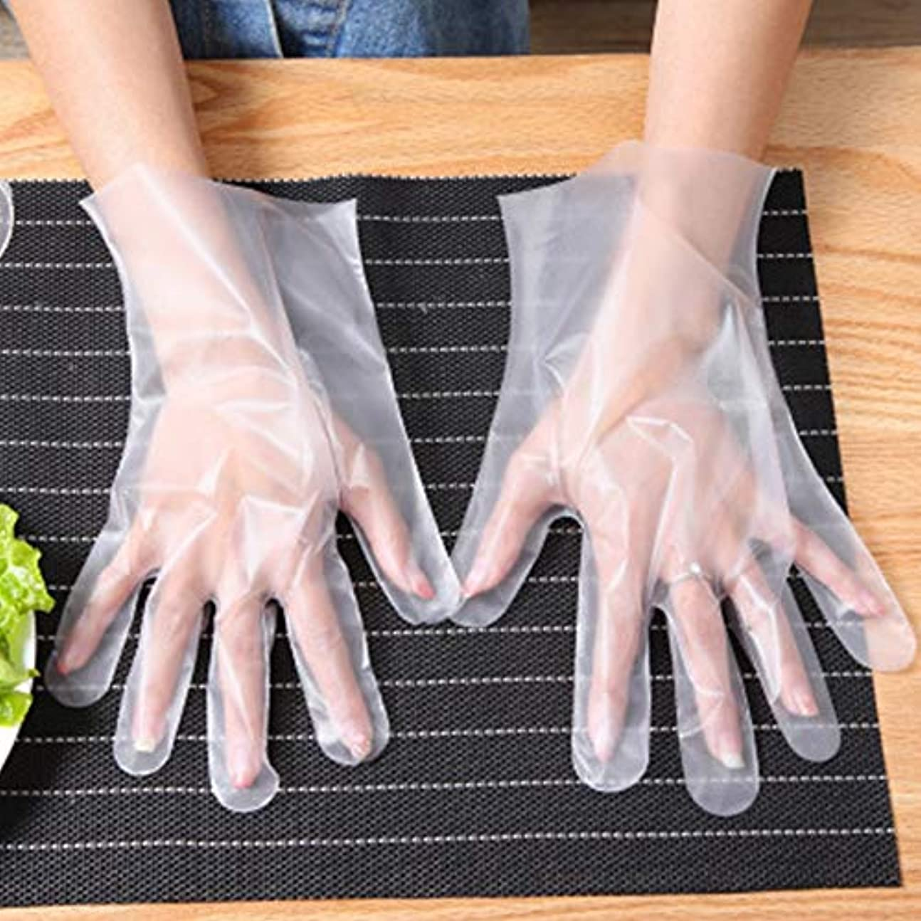 オート変更可能旅行代理店多目的使い捨て手袋 200枚入り プラスチック製 食品準備用手袋 ラテックス不使用 子供の美術工芸や絵画に最適 透明