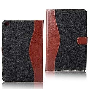 レザーケース デニム 手帳型 スマホケース (iPad mini4, ブラック) [並行輸入品]