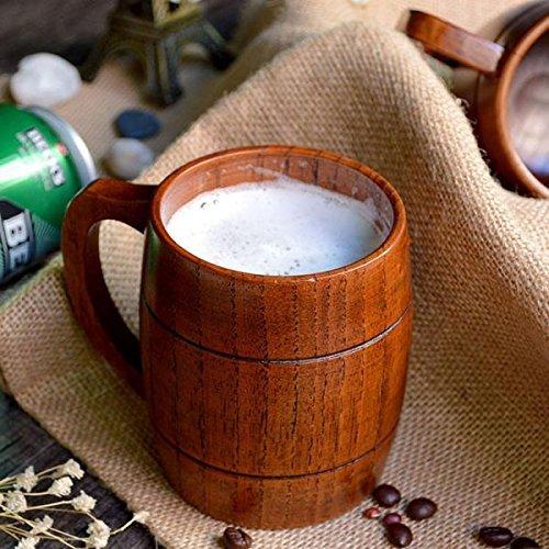 天然木製 ジョッキ ビール ジョッキ マグカップ ミルク コーヒー カップ ...