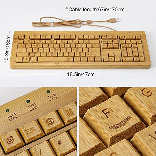 Koolertron 竹製キーボード  USB接続 天然素材を使用したハンドメイドの竹製キーボード 手触りが良く バンブー キレイ