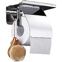 トイレットペーパーホルダー 紙巻器 フック付き ステンレス鋼 防錆 壁掛け式 き 台所 浴室ティッシュホルダー スマホ置…