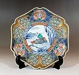 伝統工芸 有田焼・総手書き・金襴手古伊万里様式飾り皿 陶芸作家 藤井錦彩