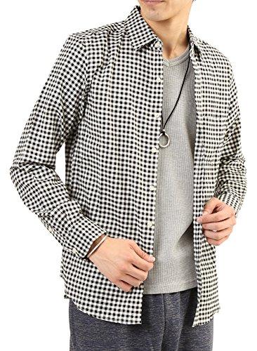 (アーケード) ARCADE メンズ シャツ 綿麻リネン ストレッチ オックスフォード カジュアルシャツ L ギンガムチェック(長袖)