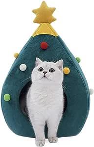 MUSUBI クリスマスツリー犬猫用ハウスベッド 猫ベッド 冬 クリスマス 猫用ベッド 猫ハウス 猫 ベッド 冬用 温かい ふわふわ クリスマス贈り物 猫用マフラー付き クリスマスツリー型