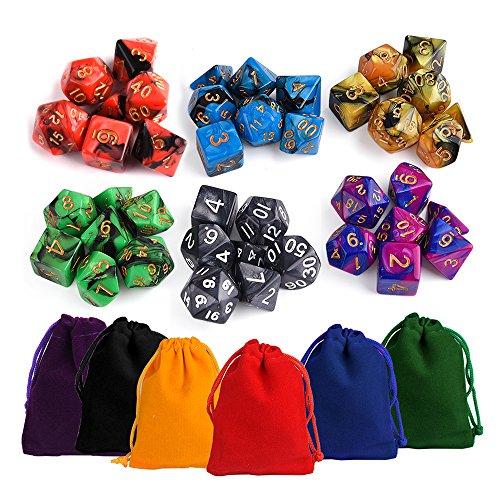 KUUQA trpg ダイス 6色×7種 42個 クトゥルフ 神話 ボードゲーム カードゲーム 用 ダイス セット サイコロ