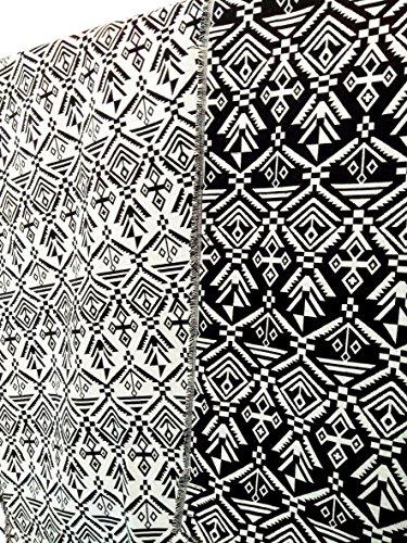 コットン リネン 民族 調 柄 ストライプ 生地 DIY ハンドメイド 手 作り 作品 に (ネイティブ柄 黒)