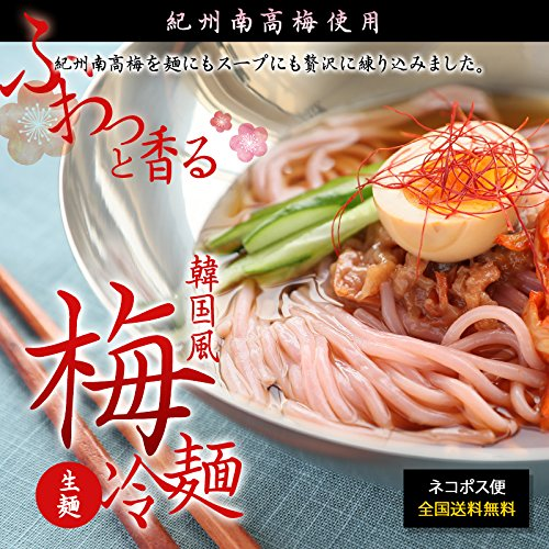 紀州南高梅使用 韓国風 梅冷麺 4食スープ付【国産】メール便