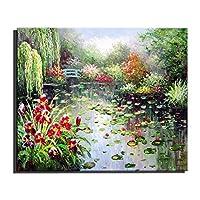 FOTEE 油絵現代油絵の手、ロータスガーデン塗装オイルフレームレス油絵絵画、装飾絵画壁画,7x9.8in,