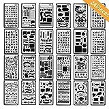Onest 24パックジャーナルステンシルプラスチックステンシルPlannerジャーナル/ノートブック/日記/スクラップブックDIY図面テンプレートステンシル4x 7インチ