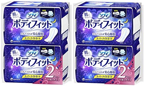 【まとめ買い】ソフィ ボディフィット スーパーナイトガード 夜用 羽なし 29cm 10コ入×4個パック(unicharm Sofy)