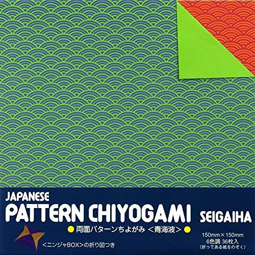 [해외]양면 패턴 색종이 <칭하이 파도> 6 색조 36 매들이 23-2184 닌자 BOX 접어도 포함 쇼오와 그림/Double-sided pattern Chihayami <Qinghai wave> 6 color tone 36 sheets entered 23-2184 Ninja BOX folded drawing Showa Grimm