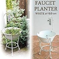 プランター 植木鉢 ガーデンプランター直径19.5cm シャワーバケット ホワイト (底穴あり) アイアン 鉢 オーナメント