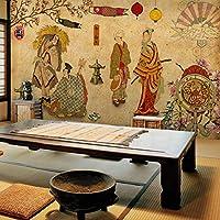 Ljjlm カスタムヴィンテージ和風浮世絵レディース3D壁紙壁用3D壁画壁紙寿司料理レストランホテルバーベキュー-160X120CM