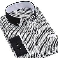 フェアリーストーン ドレスシャツ メンズ 長袖 スリム フィット クレリック 柄 カッターシャツ ワイシャツ カジュアル フォーマル S-14 ブラック L