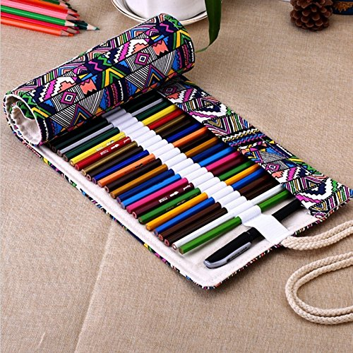 Sulida 鉛筆ホルダー 筆入れ ペン収納袋 筆箱 鉛筆ケース ラップロール 色鉛筆に適用 色鉛筆...