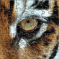 ZEN ART & DESIGN 野生動物写真 125ピース タイガーアイ 木製ジグソーパズル - S