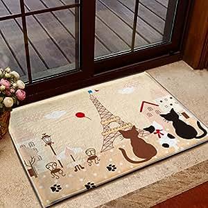 [クイーンビー] 玄関マット ネコ エッフェル塔 北欧 屋内 室内 おしゃれ かわいい 泥落とし ラグ カーペット 滑り止め リビング お風呂 吸水 抗菌 40cm×60cm (ピンク)