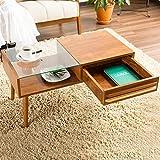 【テーブル ガラス】80cm幅 強化ガラス センターテーブル スタイリッシュ 木目調 北欧スタイル ディスプレイ 引出し 収納付き 色:ブラウン タイプ:Aタイプ