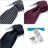 【dresscode101】厳選の30種類からの3本セット 剣先7cm 洗える 細ネクタイ 3本&洗濯用ネット付き ビジネス、フォーマルに最適