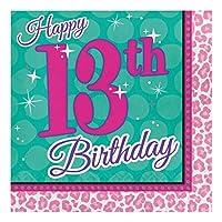 Creative Converting 317275 ペーパーランチナプキン 13歳の誕生日 スパークルスパパーティー 16枚入り