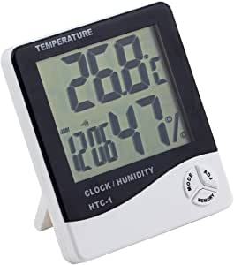 Myoffice デジタル温度計 湿度計 時計 目覚まし・アラーム カレンダー 5機能搭載 大画面 卓上スタンド&壁掛け兼用 ホワイト