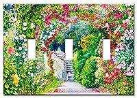 アートプレートブランドスイッチ/壁プレート–Flower Garden マルチカラー 8539-T