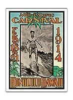 1914ミッドパシフィック・カーニバル - ホノルルハワイ - 特長デューク・カハナモク、世界のチャンピオンのスイマー - ビンテージなカーニバルのポスター によって作成された ルー・ヘンダーソン, ネッド・スティール c.1914 - アートポスター - 30.5cm x 41cm