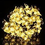 ストリングライト 6M 50球 花型 LEDイルミネーションライト ソーラー充電式 イルミネーションライト 電球色 ガーデンライト