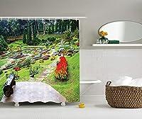 Yeuss国の家の装飾のコレクション、メーファールアンガーデン芝生の花壇常緑樹木製の座席画像、ポリエステル生地浴室のシャワーカーテン、ライラックレッドグリーンでアナナス