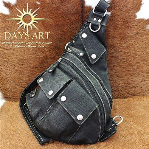 Days Art(デイズアート)牛革 カーフスキン 多重ポケット ドロップ型 レザーボディバッグ ワンショルダー 斜め掛けショルダーバッグ 左右付け替え可
