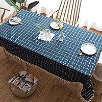 リネンのテーブルクロス、青いチェック柄、立体刺繍、モダンなミニマリストのリビングルーム、キッチンテーブルクロス、屋内と屋外, 100x160cm