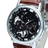 E-seven(イーセブン) 腕時計 メンズ スケルトン 手巻き 自動巻き 機械式 革 レザー tfsle (ブラウン×ブラックフェイス)