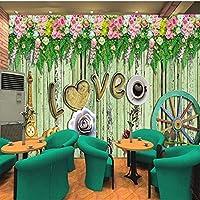 Xbwy 写真の壁紙ロマンチックな花の色の木製の背景の壁紙リビングルームレストラン寝室スタジオHdの壁画-400X280Cm