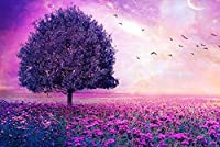 毛布 150x200 cm 手触りふわふわ マイクロファイバー フランネル あったか 洗える 紫色の木 ナチュラル 風景 アート